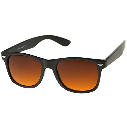 zeroUV - Blue Blocking Driving Horn Rimmed Sunglasses Amber Tinted Lens 54mm (7 Matte Black)