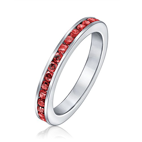 (Cubic Zirconia Red Stackable CZ Channel Set Eternity Band Ring Simulated Ruby For Women For Teen 925 Sterling)