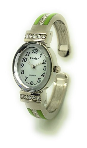 Ladies Small Oval Case Metal Bangle Cuff Fashion Watch Stones Pearl Dial Wincci (light (Pearl Dial Bangle Watch)