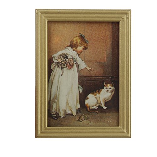 Dollhouse Miniature Frame Girl and Cat Mural Wall Painting 1:12 by Generic (Miniature Girl Doll)