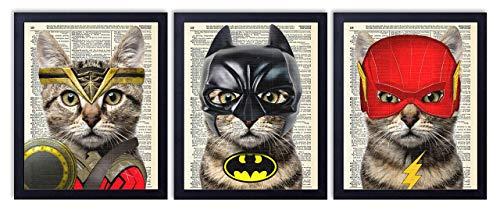 Big Art Cat - Justice League Superhero Cat 3 Piece Set - Batman, Wonder Woman & Flash Cat Art Prints - Kids Bedroom Decor on Vintage Dictionary Book Pages - Children's Room Decor - 8x10 inches each, Unframed