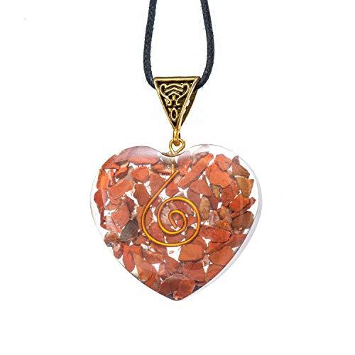 (Pura Esprit Orgonite EMF Protection Pendant - Orgone Energy Generator Red Jasper Crystal - Handmade Chakra Healing Heart Pendant Necklace with Leather Cord - Stress Relief Meditation Yoga Jewelry )