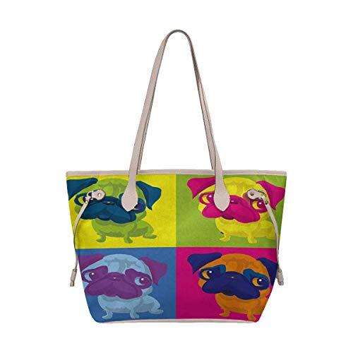 InterestPrint Women's Stylish Tote Bag Travel Shoulder Pug Dog Andy Warhol Style