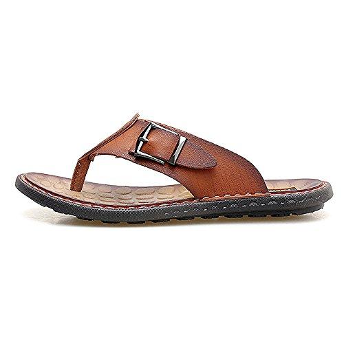 Pantofole Ruanyi Vera per Casual da Piatti Infradito Marrone Outdoor Spiaggia in Sandali Pelle e Confortevole Infradito Antiscivolo Morbidi Gli Scarpe Uomini casa 4rzPw4