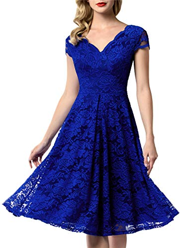 AONOUR 0052 Women's Vintage Floral Lace Bridesmaid Dress Wedding Party Midi Dress Cap RoyalBlue 2XL
