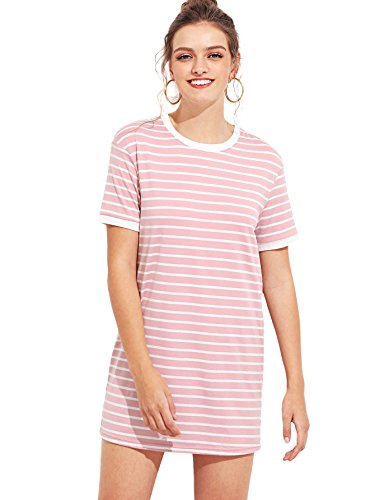 SheIn Women's Short Sleeve Crew Neck Shift Striped T-Shirt Dress Large (Stripes Ringer T-shirt)