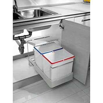 Mülleimersysteme Küche | 2 Fach Kuchen Einbau Abfalleimer Electa1 2x 16 Liter Mulleimer