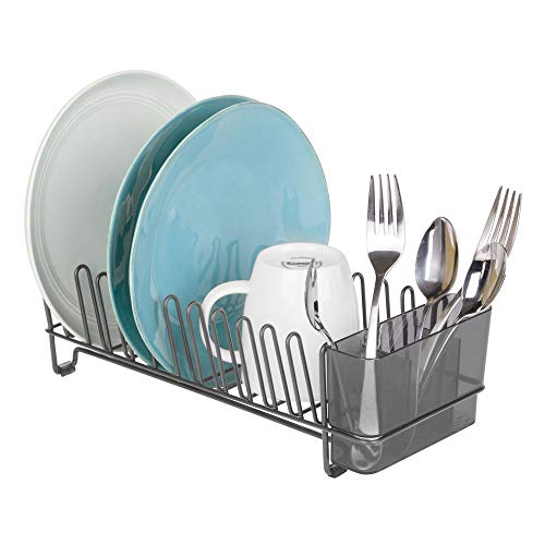mDesign Compact Modern Kitchen Countertop, Sink Dish Drying Rack, Removable Cutlery Tray - Drain and Dry Wine Glasses, Bowls and Dishes - Metal Wire Drainer in Graphite Gray with Smoke Caddy