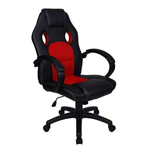 Polar Aurora Office Chair Leather Desk High Back Ergonomic Adjustable Racing Chair Task Swivel Executive Computer Chair(Red)
