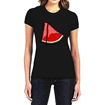 IngraveIT Black Cotton Round Neck T-Shirt For Women