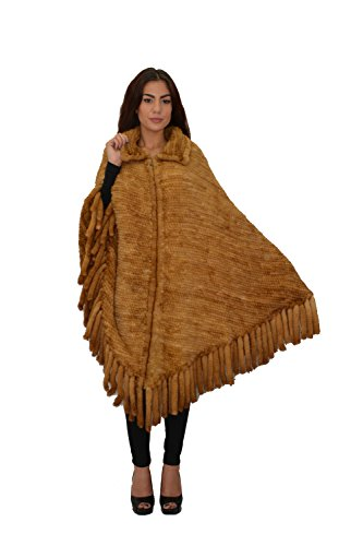Mink Poncho - Women's Large mink poncho with tail (WHISKY)