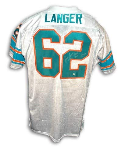 Autographed Jim Langer Miami Dolphins Throwback White Jersey Inscribed HOF 87 and 17-0 - Certified Authentic Signature ()