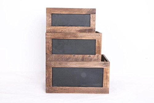 Set of 3 Wood crates with Chalkboard