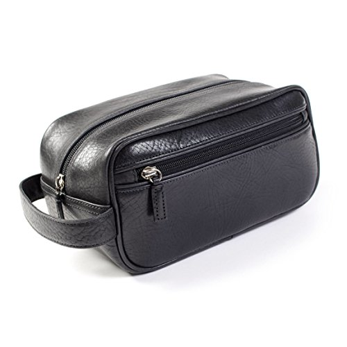 Leatherology Small Shave Toiletry Bag - Italian Leather - Ebony (black) by Leatherology