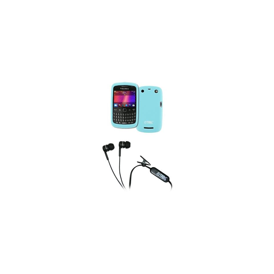 EMPIRE Light Blue Silicone Skin Case Cover + Stereo Hands Free 3.5mm Headset Headphones for BlackBerry Curve 9370