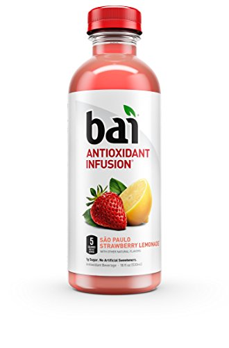 Bai Sao Paulo Strawberry Lemonade, Antioxidant Infused Beverage, 18 Fluid Ounce Bottles, 12 count (Drink Strawberry Syrup)