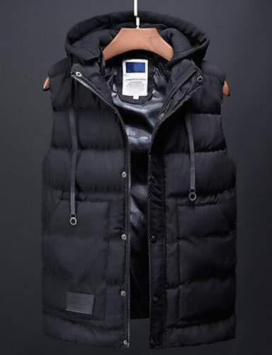 CHENGZI Männer Ausgehen Parka - Solid Farbeed Hooded Sleeveless