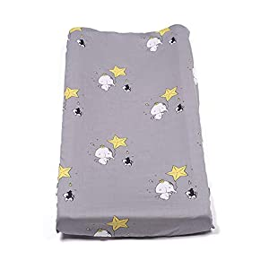 Changing Pad Cover, Stretchy Changing Table Pad Cover,100% Jersey Cotton Unisex Cradle Sheets for Baby Girl and Baby Boy, Star Pattern (grey2)