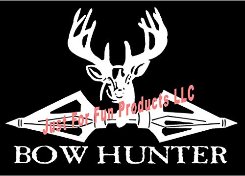 (Just For Fun 6.5 x 4.5 Deer Bowhunter Broadheads Vinyl Die Cut Decal Bumper Sticker, Windows, Cars, Trucks, laptops, etc)