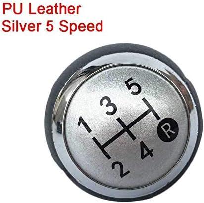 LRFQ TOYOTAカローラ1.8MT 2007年から2013年/ RAV4アベンシスYARIS D4D URBAN用5/6スピードカースタイリングシフトノブキャップカバーレバースティックペン (Color Name : PU leather Silver 5)