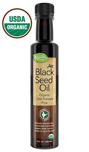 Organic Black Seed Oil by Trusted Organics - Cold-Pressed, Additive-Free, Pure Nigella Sativa Oil - Great for Skin, Inflammation, and Appetite Control - Money Back Guarantee - 8 Fl oz Glass Bottle