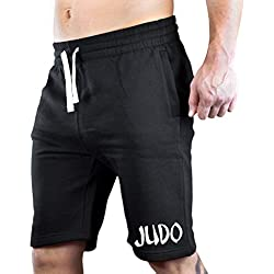 Men's Graffiti Judo V439 Black Fleece Jogger Sweatpant Gym Shorts Medium Black