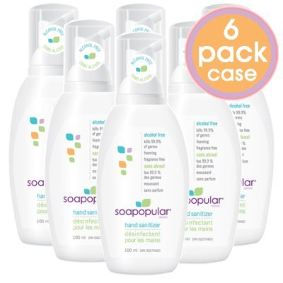 Soapopular Brand Alcohol Free SAFER4KIDS Foaming Hand Sanitizer 100ml (3.4oz) - 6 (3.4 Ounce Alcohol)