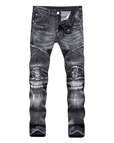 ADELINA Pantalones De Mezclilla De Moto Hombre para De Pantalones Biker Ropa Mezclilla Desgastados Desgastados Ufig Pantalones De Mezclilla Pitillo para Pantalones Ajustados Blacka