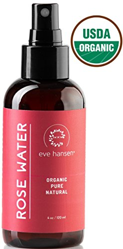 Certified Organic Rose Water Face Toner - Skin Reviving, Soothing, and Hydrating Natural Skin Toner - Reduce Pores, Eye Puffiness, Inflammation, and Redness - by Eve (Rose Floral Water)