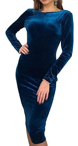 Womens Open Bodycon Mid Long Cromoncent Sexy Blue Dress Prom Back Club Sleeve dqnwTWTF