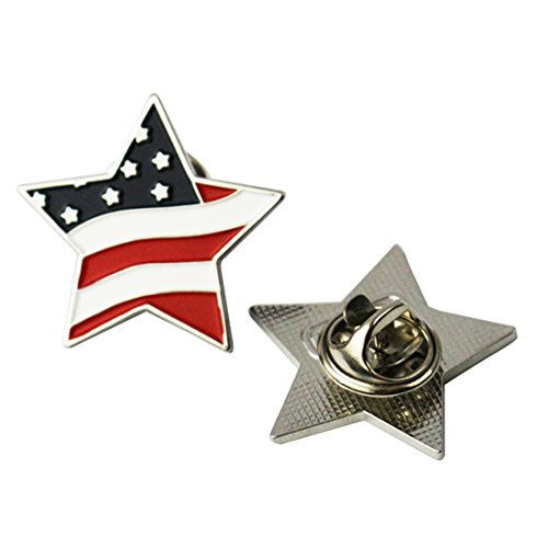 (PINMEI American Flag Lapel Pin Patriotic Pin Enamel Star Shape Pin Suit for School Business Meeting National Day (5))