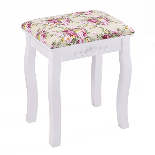 Wood Vanity Bench (Giantex White Vanity Stool Wood Dressing Padded Chair Makeup Piano Seat Make Up Bench w/ Rose cushion)