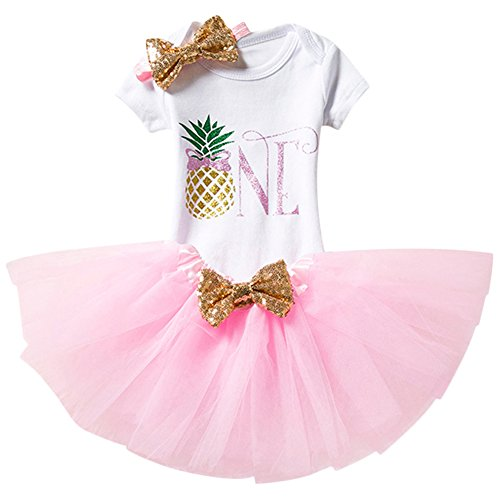 IBTOM CASTLE Baby Girl It's My 1st Birthday 3Pcs Outfits Skirt Set Romper+Tutu Dress+Headband Cake Smash Crown Bodysuit Clothes Jumpsuit Pink Pineapple(1 Year) One Size]()