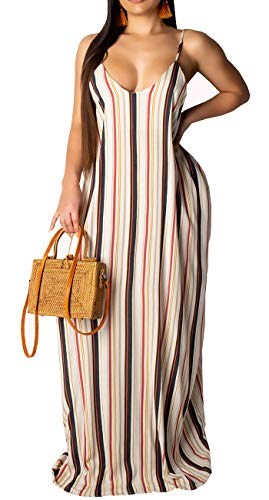 Womens Casual Stripe Spaghetti Strap Loose Plus Size Beach Sundress Long Maxi Summer Dresses with Pockets
