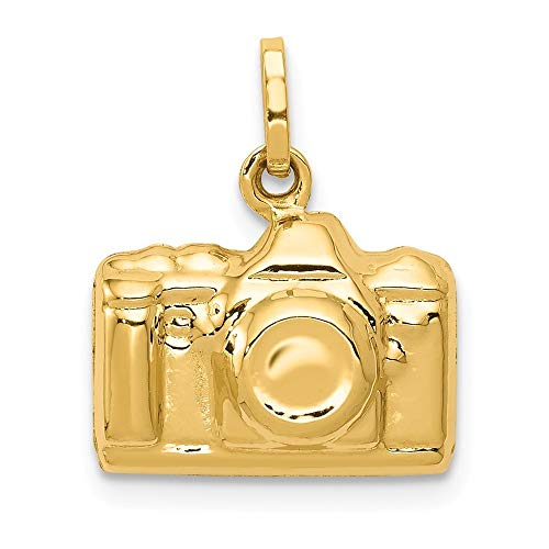 14K Yellow Gold 3-D Polished Camera Charm Pendant from Roy Rose Jewelry 14k Gold Camera Pendant