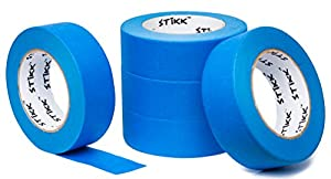 """5pk 1.5"""" x 60 yd STIKK Blue Painters Tape 14 Day Clean Release Trim Edge Finishing Masking Tape (1.44 IN 36MM) (5 Pack)"""