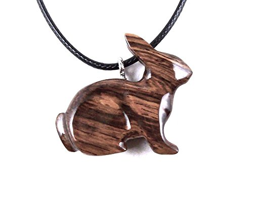 Bunny Pendant Necklace Rabbit Jewelry Hand Carved in Honduran Rosewood