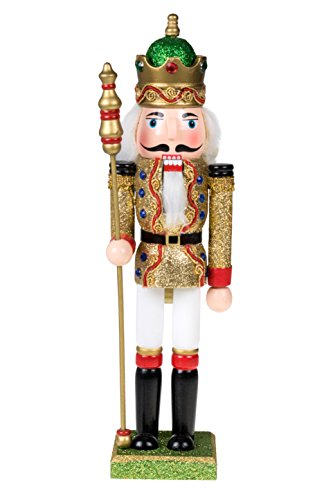 Clever Creations Traditional Wooden King Nutcracker Gold and Green Glitter | Festive Ornate Christmas Decor | 12