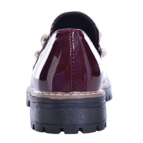 Slduv7 Donna Oxford Moda Oxford In Pelle Verniciata Scarpe Casual Slip-on Scarpe Basse Tacco Basso Oxford Rosso