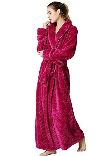 Dannifore Women's Rose Red Winter Flannel Plush Robe Long Sleeves Pajams Bathrobe With Belt Medium