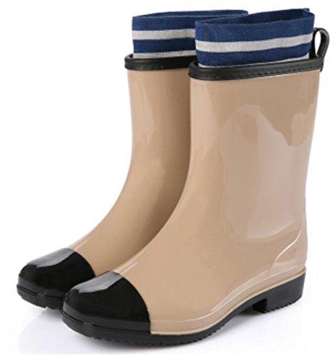 Donne Adulte Antiscivolo Corto Alla Caviglia Alta Scarpe Di Gomma Stivali Da Pioggia Kaki