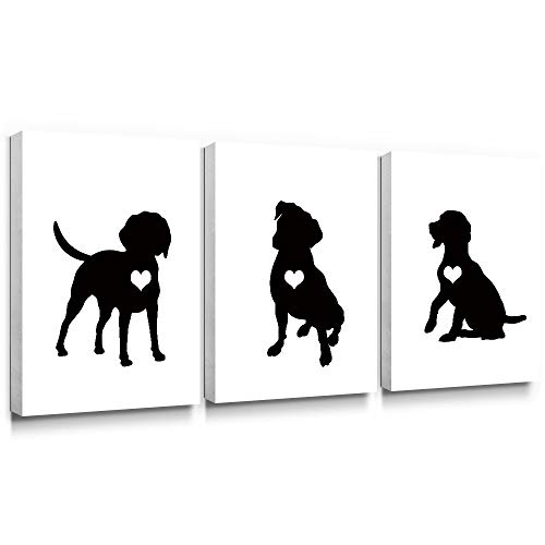 SUMGAR Black and White Wall Art Bedroom 3 Piece Modern Canvas Paintings Animal Prints Dog Pictures Bathroom Artwork Set Nursery Puppy Lover Pet Gifts Home