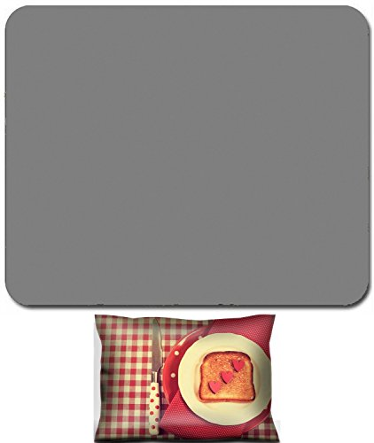 Liili Mouse Wrist Rest and Small Mousepad Set, 2pc Wrist Support Retro vintage style red table setting with polka dot plate and and toast with hearts for Mothers Day romantic or Va