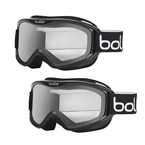 Bolle Mojo Anti-Fog Snow Ski Goggles Black Frame, Clear Lens, Medium to Large Adult Fit 2-Pack