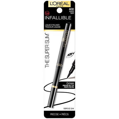 L'Oreal Paris Makeup Infallible Super Slim Long-Lasting Liquid Eyeliner, Ultra-Fine Felt Tip, Quick Drying Formula, Glides on Smoothly, Black, Pack of 1