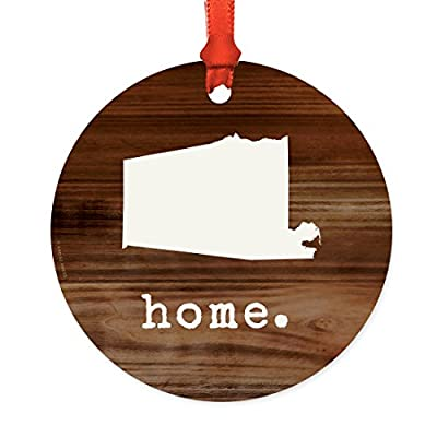 Andaz Press US State Round Metal Christmas Ornament Collection