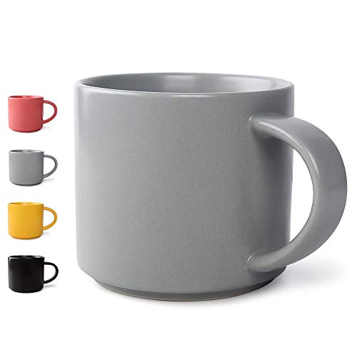 Ceramic Matte Coffee Mug Tea Mug of 13.9 Ounce,Coffee Cup Tea Cup for Women and Man,Perfect Gift for Birthday, Holiday,Anniversary Wedding (Grey)