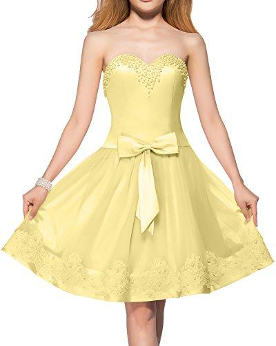 mit Ivydressing Kurz Gelb Traegerlos Tuell Beliebt Tanzenkleider Spitze Perlen Damen Schleife Partykleider Abendkleider Ballkleider PqPAf