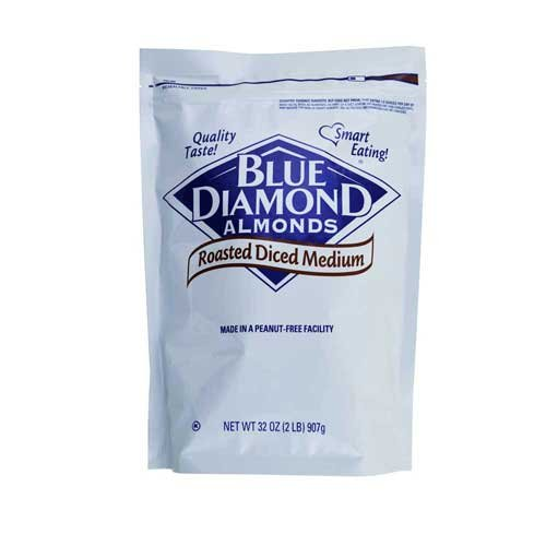 Blue Diamond Roasted Diced Medium Almonds, 2 Pound -- 4 per case.