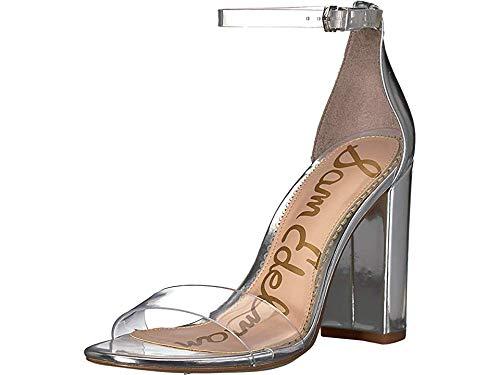 Sam Edelman Women's Yaro Ankle Strap Sandal Heel Clear/Soft Silver Vinyl/Liquid Metallic 6 W US
